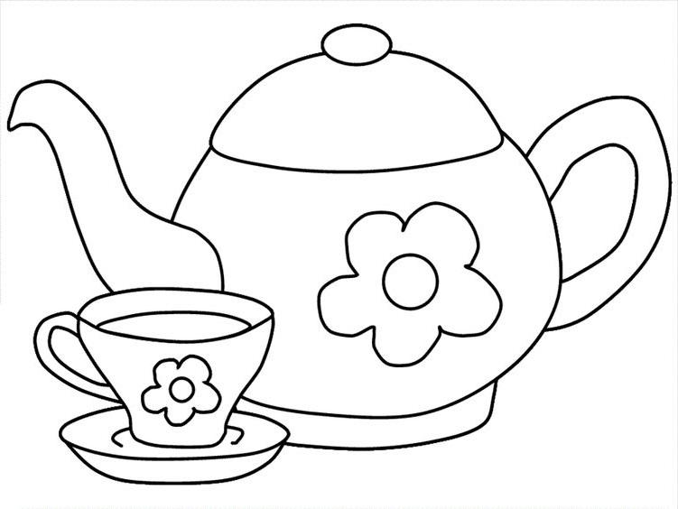 Tranh tô màu ấm trà và cốc trà