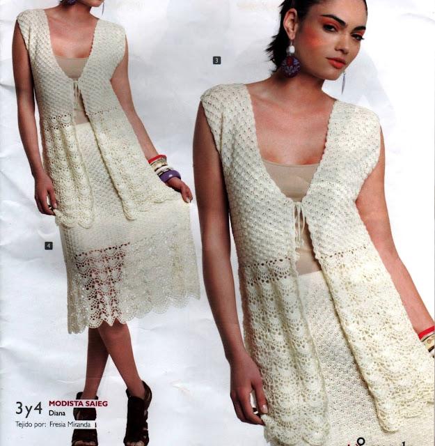 Patrón 935 Vestido Blanco a Crochet