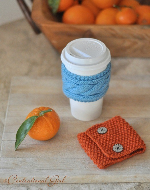 DIY Portable Knit Coffee and Tea Cozies