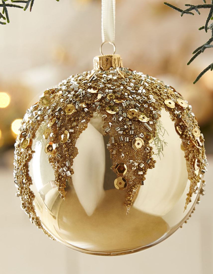 Gold Opal Glass Ball Christmas Ornament With Beads