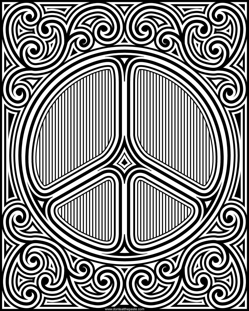 Small peace sign coloring pages ~ Don't Eat the Paste: Peace symbol coloring page