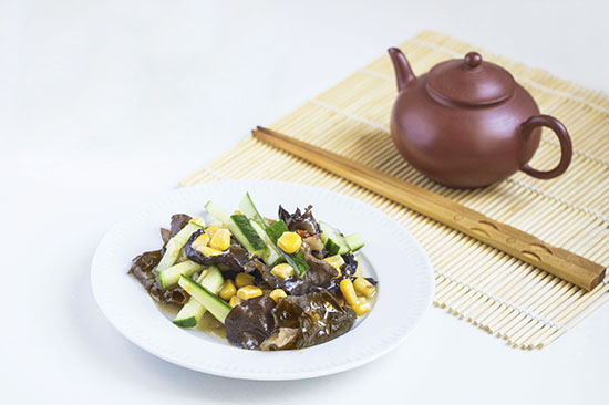 Chinese food - Chinese tree ear, cucumber and corn seed salad