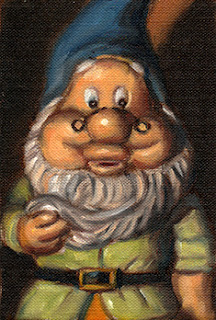 Oil painting of a garden gnome with a blue hat and green tunic.