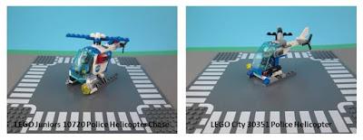 Comparativo Set LEGO Juniors 10720 e 30351 City Police Helicopter