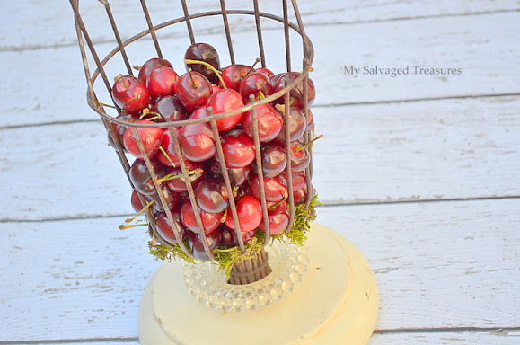 turn a fruit picking basket into a basket for holding cherries