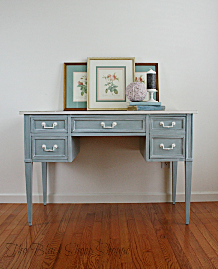 Desk painted in duck egg blue chalk paint with a winter white glaze.