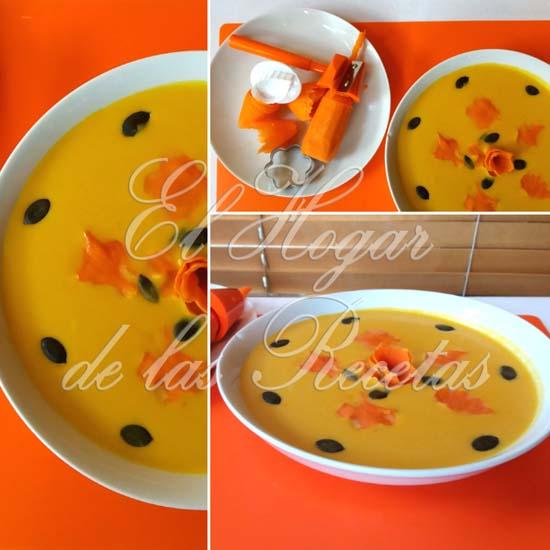 Crema de calabaza con zanahoria, patata, cebolla y puerro, acompañada de pipas de calabaza
