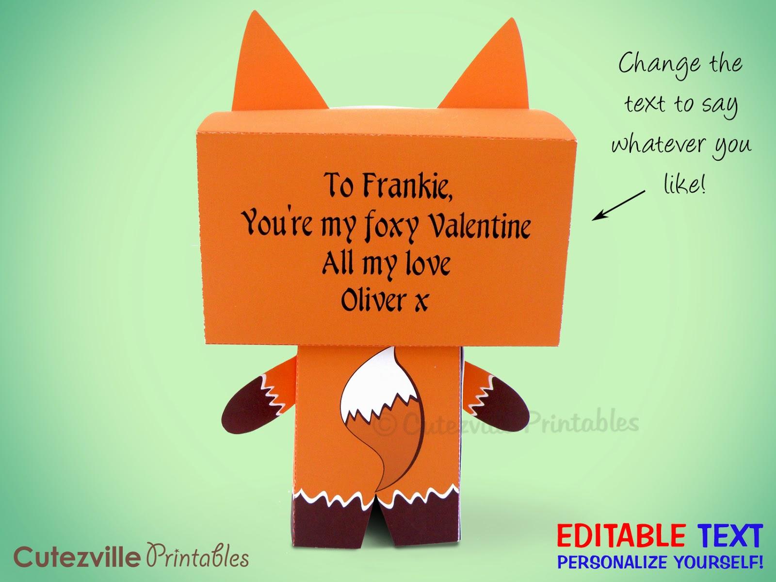 Cutezville Printables Super Cute Fox Box Rh Blogspot Com Purse Favor Template DIY