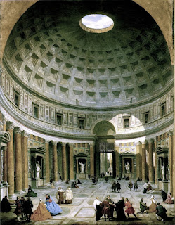 Panini's view of the inside of the Pantheon  typified his use of manipulated perspective