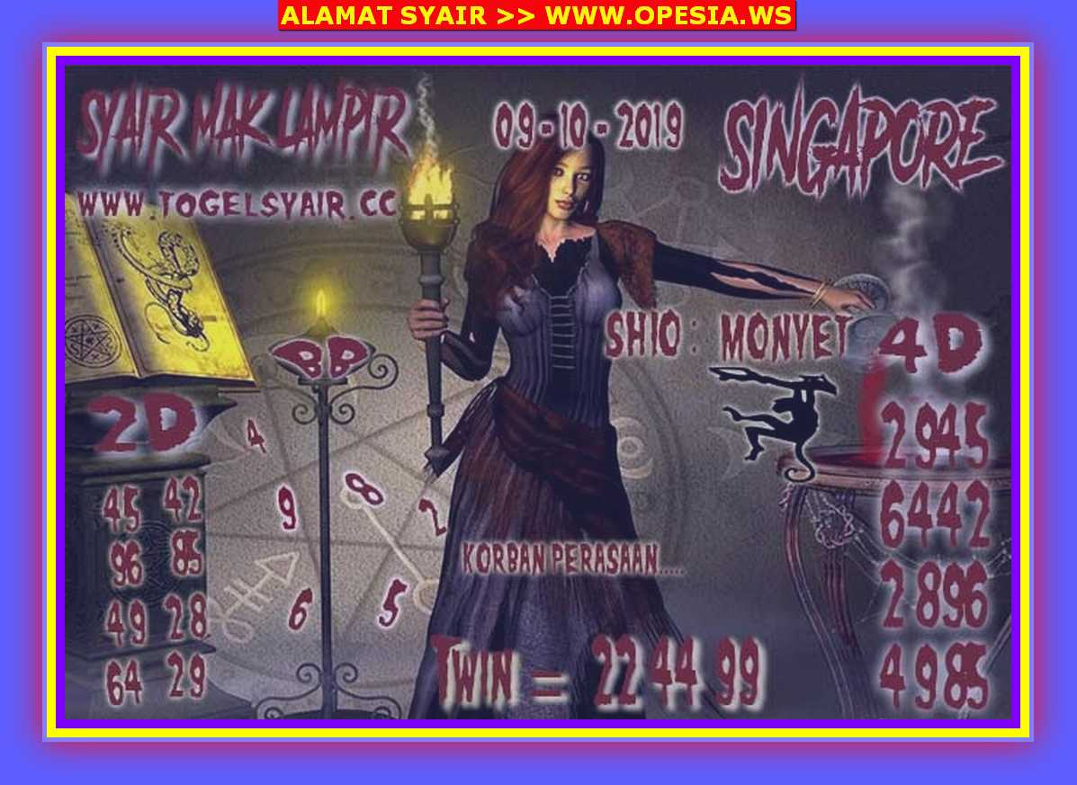 Kode syair Singapore Rabu 9 Oktober 2019 109
