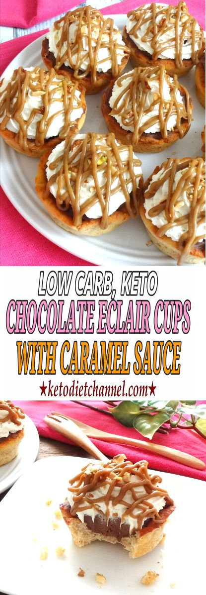 Chocolate Éclair Cups with Caramel Sauce / Low Carb / Keto / Gluten Free / Sugar Free