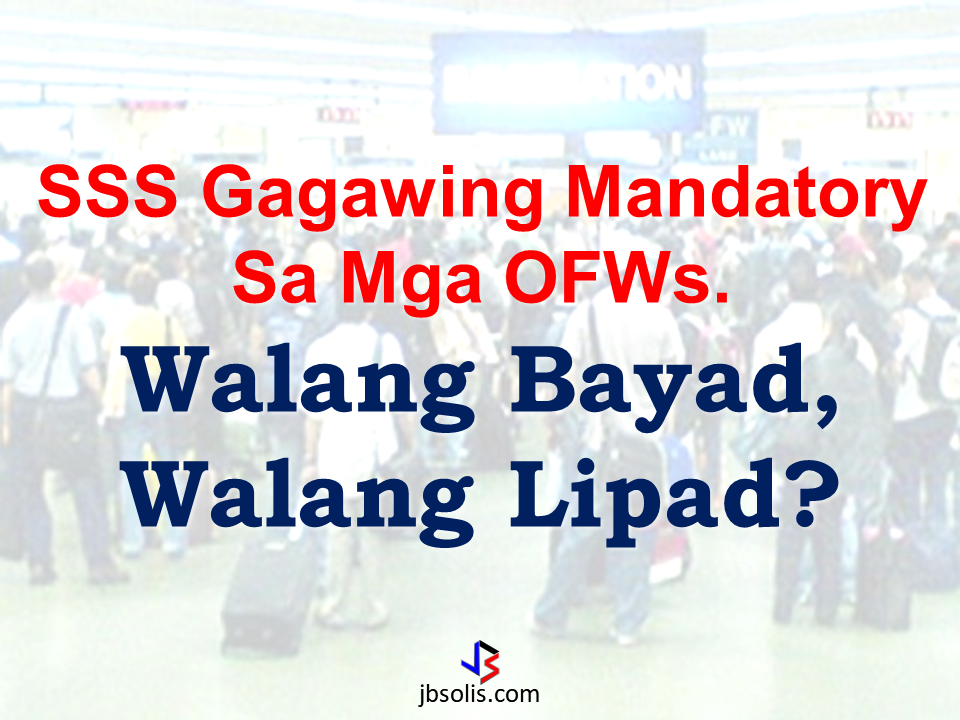 "Mandatory payments has been a burden for OFWs eversince. Government services membership like Pag-ibig, Philhealth, OWWA and now, SSS. It can be helpful for them, yes. But if you will hinder them to travel outside the country just because they failed to pay. Do you think it is still helping the OFWs?  In 2013, an outburst among OFWs happened when Philhealth announced a premium increase from P900 to P1,200 to P2,400. The OFWs from all over the world opposed the increase, much more when they said it will be included in the mandatory fees attached to the Overseas Employment Certificate (OEC) which is needed in order to allow OFWs to work overseas.  The POEA  later issued Advisory No.6-2015 excluding Pag-ibig and Philhealth on OEC Payment allowing OFWs to pay without being obliged to pay these fees, which brought  the OFW clamor to ease.   Sponsored Links The same thing might happen if the SSS premium will be made mandatory and will be included in OEC payment.  First published on March, the Social Security System seek mandatory membership for the OFWs. The SSS said that they want to ensure that the OFWs can surely avail of social security benefits.     Under the SSS proposed measures for enforcement, it seeks to include SSS premium payment in recruitment and employment contracts and in the process of securing OEC. It includes verification on compliance on mandatory SSS coverage and payment of ""unpaid contributions"" if any before leaving the country, which equated to ""no pay, no fly"" for the OFWs.  However, the mandatory SSS payment for OFWs are still under negotiations and series of meetings with concerned stake holders including OFW representatives and recruitment agencies. SSS said that out of over 2 million OFWs deployed worldwide, only about 20 percent only were paying-members of the SSS or about 500,000 OFWs.  Advertisement Read more:    Read More:       ©2017 THOUGHTSKOTO"