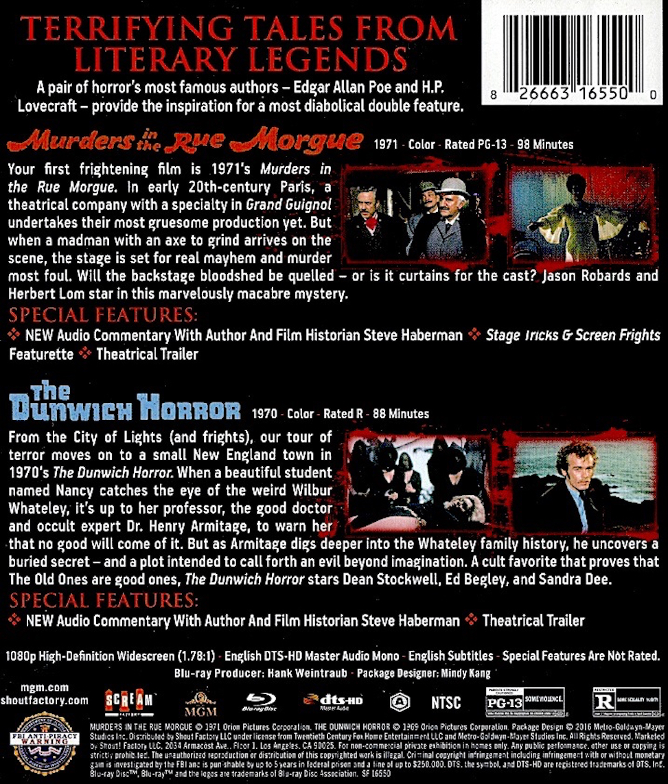 Blu-Ray And Dvd Covers Scream Factory Double Feature Blu -6161