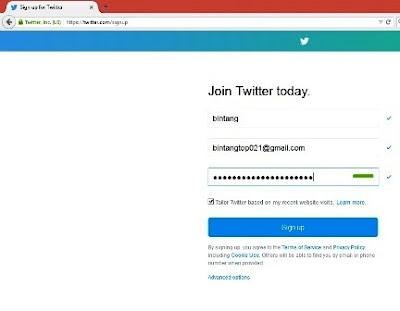 Twitter 2 cara daftar twitter via komputer
