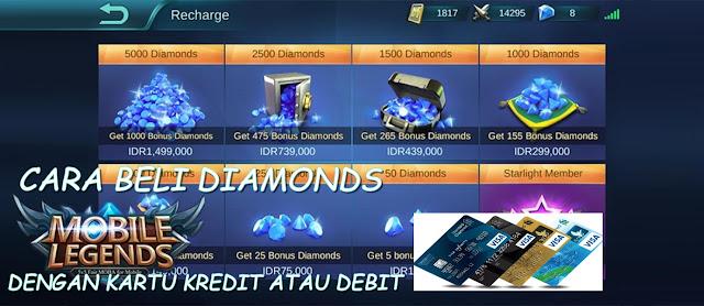 Cara Beli Diamonds Mobile Legends Dengan Kartu Kredit atau Debit