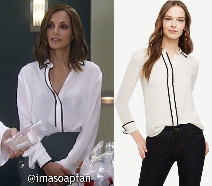 Hayden Barnes, Rebecca Budig, White Blouse with Black Fringe Trim, Ann Taylor, GH, General Hospital, Season 55, Episode 05/19/17