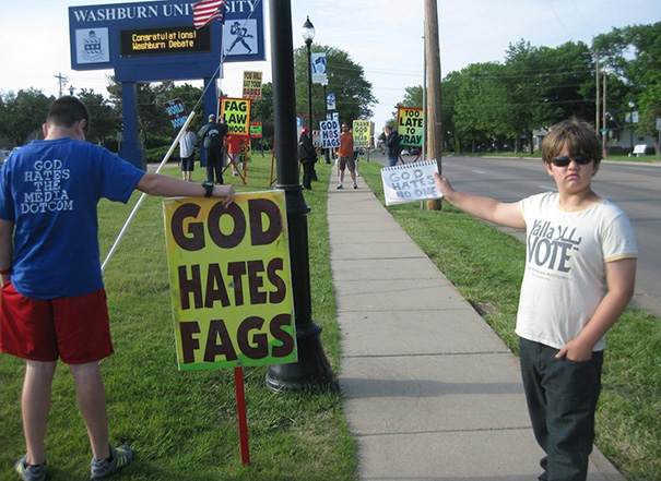 9-Year-Old Josef Miles Filled His Mom With Pride When He Made An Impromptu Protest Of Westboro Baptist Church, Kansas