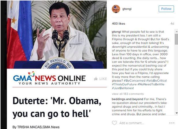 ONCE AGAIN: G Tongi Hits Duterte Over Obama Tirades! Must Read!