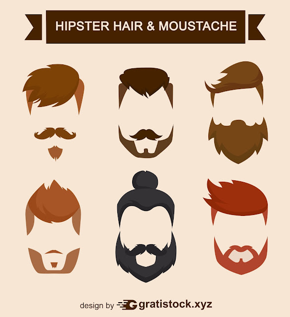 Free Download PSD Mockup - Hipster Hair Style and Moustache