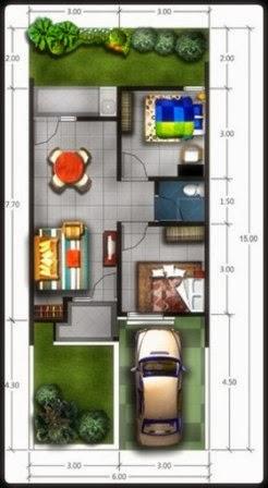 denah rumah minimalis type 45 tanah 150 m2