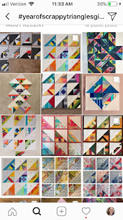 first 9 blocks from a  year of scrappy triangles foundation paper pieced blocks free