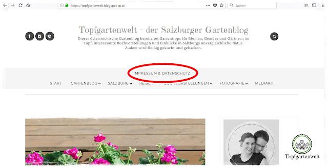 Gartenblog Topfgartenwelt Umsetzung der DSGVO auf Blogspot: Impressum und Datenschutz