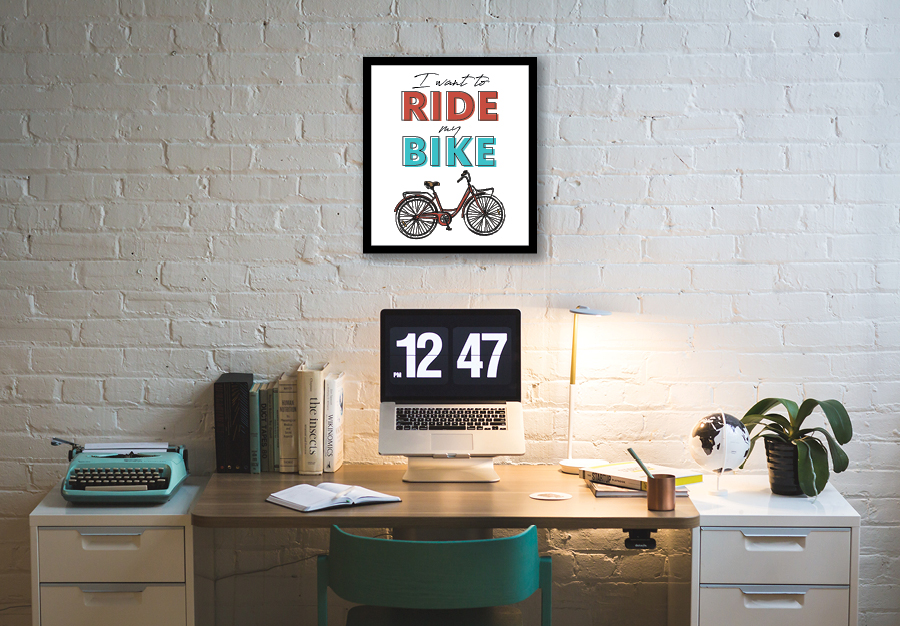 I want to ride my bike free art print