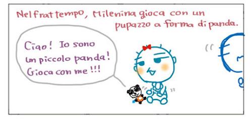 Nelfrattempo, Milenina gioca con un pupazzo a forma di panda. Ciao! Io sono un piccolo panda! Gioca con me!!!
