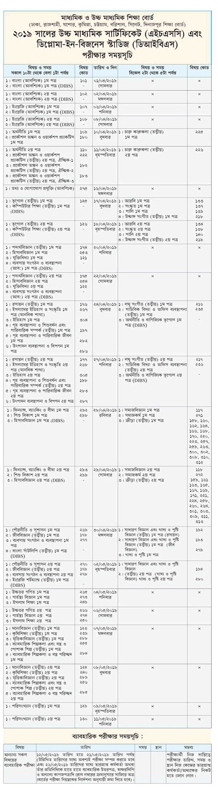 HSC, DIBS and Alim Examination routine 2019