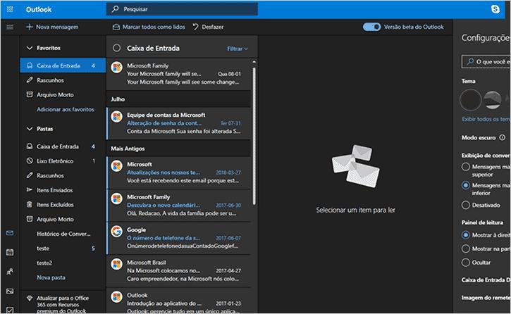 E-mail Microsoft com o fundo em cores escuras e pouca luminosidade