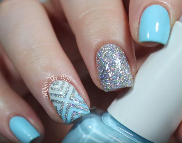 Blue and Silver Glitter Nail Design - Makeup - Beauty Everyday: Blue And Silver Glitter Nail Design
