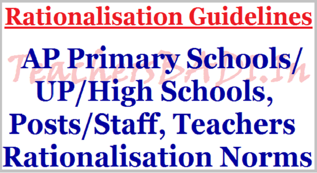 AP Primary/UP/High Schools, Posts, Teachers Rationalisation Norms,Guidelines 2017