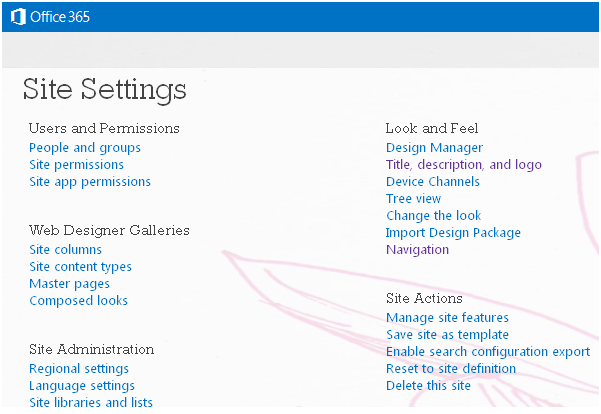 SharePoint WorkSpace: Site Setting in SharePoint 2013 ( Part