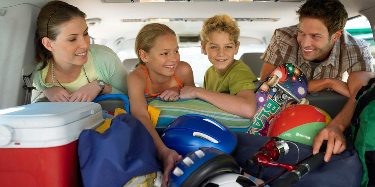 Family going on vacation travelling by car
