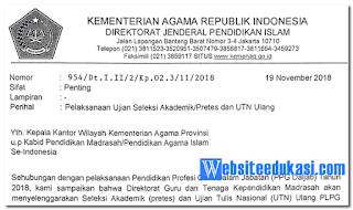 Jadwal Pretest dan UTN Ulang Madrasah 2019