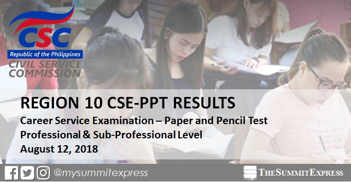 List of Passers: August 2018 civil service exam CSE-PPT results Region 10