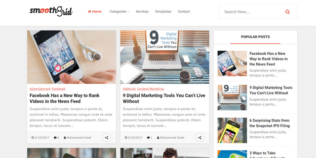 Smooth Grid Responsive Blogger Templates