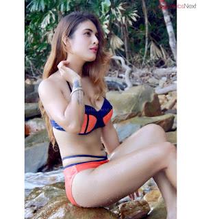 Neha Malik Spicy Indian Model in Prange Bikini HD Pics .xyz Exclusive 005