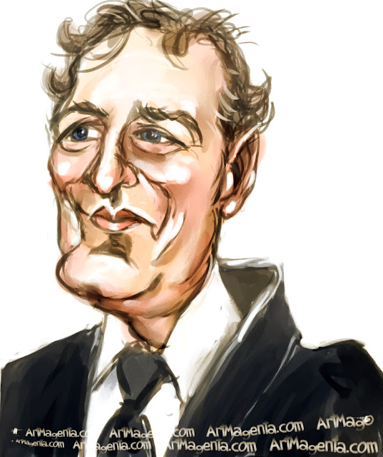 Piers Morgan caricature cartoon. Portrait drawing by caricaturist Artmagenta