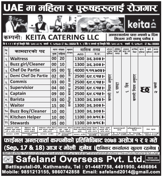 Jobs in UAE for Nepali, Salary Rs 1,11,705