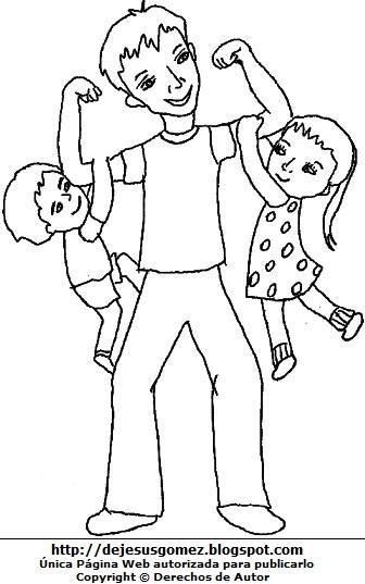 Dibujo para colorear por el Día del Padre  (Niños jugando con su papá). Dibujo del Día del padre de Jesus Gómez