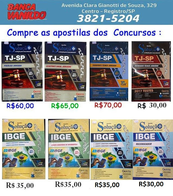 """Compre as Apostilas """"Solução"""" na Banca do Vanildo em Registro-SP"""