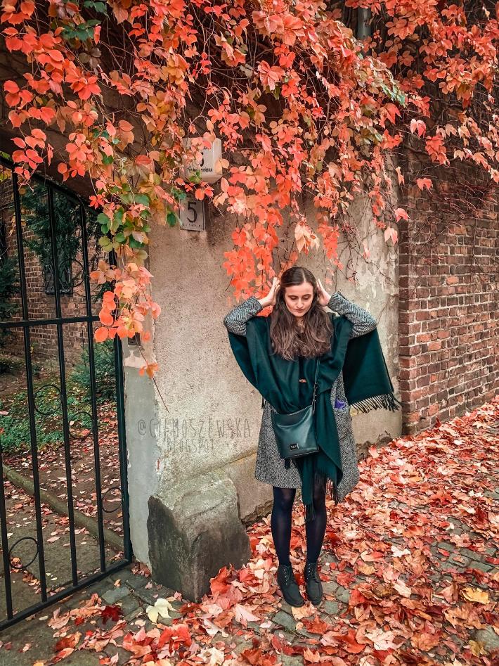 Dziewczyna w jesiennej czarno-szarej stylizacji we Wrocławiu