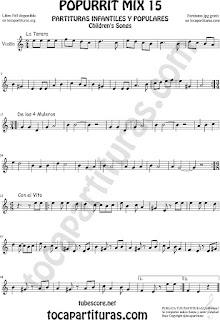 Partitura de Violín Popurrí 15 La Tarara, De los 4 Muleros y Con el Vito Sheet Music for Violin Music Scores