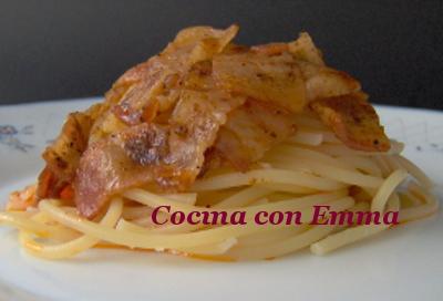 Espaguetis con bacon