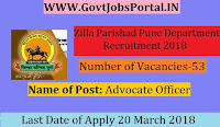 Zilla Parishad Pune Recruitment 2018- 53 Advocate Officer