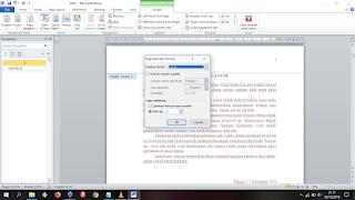 Pilih format page number romawi dan start at i