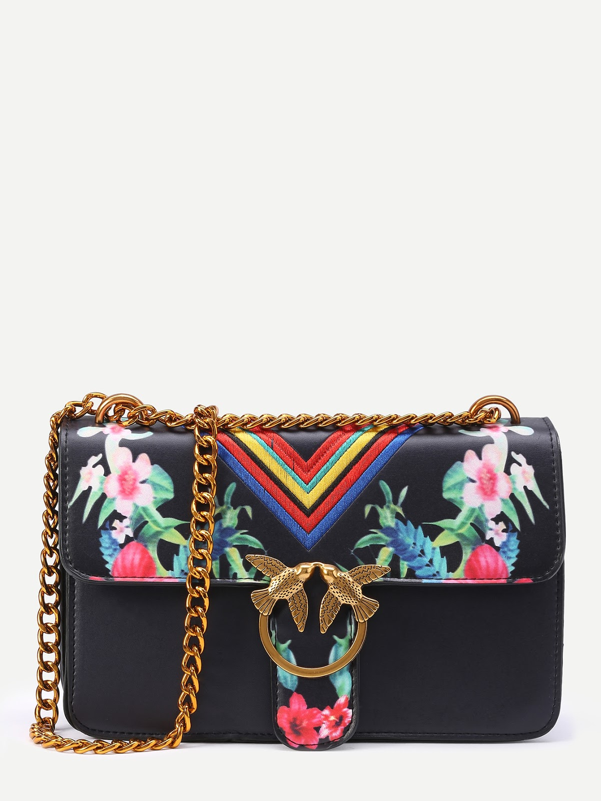 Floral Print Chevron Embroidery Flap Bag With Bird