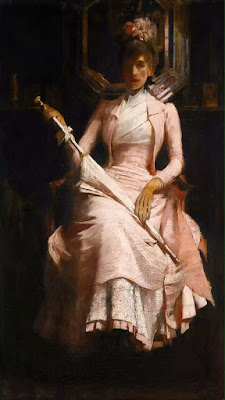 James Jebusa Shannon (1862-1923) - Шелковое розовое платье
