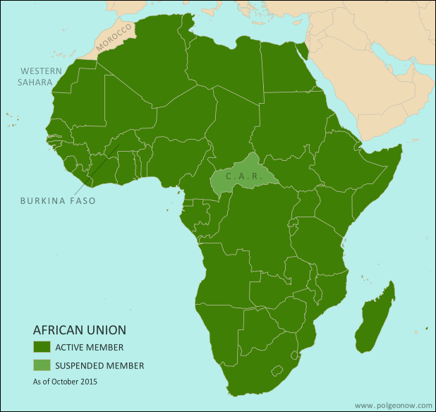 Map of the African Union, including active and suspended member countries, updated for the September 2015 suspension and reinstatement of Burkina Faso (colorblind accessible).
